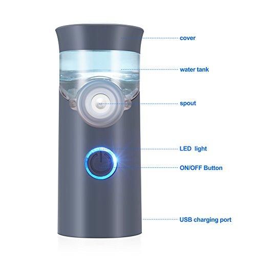 Punasi Mini Portable Inhaler, Handheld Ultrasonic Humidifier, Rechargeable Inhaler Machine for Adults Kids - Grey by Punasi (Image #2)