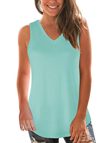 Aqua Top - NIASHOT Women's Casual V-Neck Sleeveless Loose Fit Flowy Summer Tank Tops Aqua M