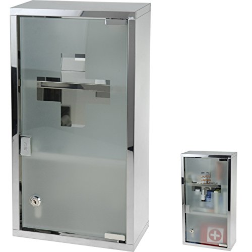 Multistore 2002 Stainless Steel Wall Mounted Lockable Medicine Cabinet Cupboard First Aid Box