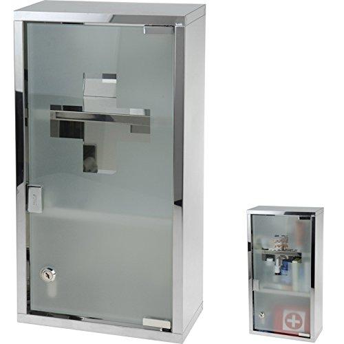 Medizinschrank mit Schloss XL Edelstahl Glas Apotheker Arzneischrank Medikamentenschrank Erste Hilfe Schrank Verbandsschrank
