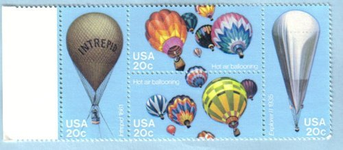 1982 BALLOONING #2035a Block of 4 x 20 cents US Postage Stamps from USPS