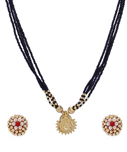 Womens Trendz Traditional Handmade Laxmi Golden Pendal Mangalsutra Necklace And Earring Set For Womens