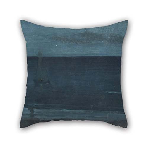 Slimmingpiggy Pillow Cases Of Oil Painting James McNeill Whistler - Nocturne- Blue And Silver—Bognor,for Wife,bar,drawing Room,monther,family,kids Room 18 X 18 Inches / 45 By 45 Cm(2 Sides) (George Mcfly Costume)
