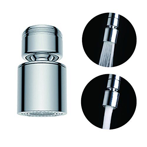 Waternymph Hibbent Dual-function 2-Flow Faucet Aerator, 360-Degree Swivel Aerator for Kitchen Sink Dual Spray, with Gasket Faucet Replacement Part - 15/16 Inch - 27UNS Male Thread - Chrome - Swivel by Waternymph