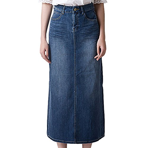 Crazy Women s Blue Waterfall Long Denim Skirt at Amazon Women s Clothing  store  e8e297bd0