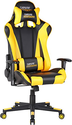 Turismo Racing Ancora Series Gaming Chair Black and Yellow Ergonomic Gaming Bucket Lumbar Support Executive Computer