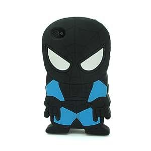 Negro Spider-Man La funda de silicona suave cubierta protectora para Apple iPhone 4 4G 4s 4th Generation with CableCenter Cable Tie