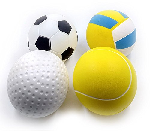 4 Pack Jumbo Slow Rising Sports Squishy Toys | Soccer, Golf, Tennis, Volleyball | 4 Inch Diameter | Cream Scented | Soft Stress Relief Squeeze Collectible | Gift or Party Favor by Squish-Eez (Ball Ball Golf Stress)