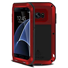 Galaxy s7 edge case,Feitenn Shockproof Dust/Dirt/Snow Proof Aluminum Metal Military Heavy Protection Case for S7 edge [no glass] (Red)