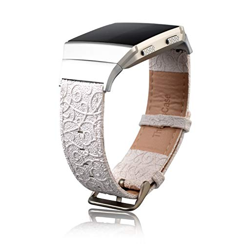 Thankscase Bands for Fitbit Ionic, Genuine Leather Replacement Accessories Wristband Straps with Great Pattern for Fitbit Ionic Smart Watch (Snow White)
