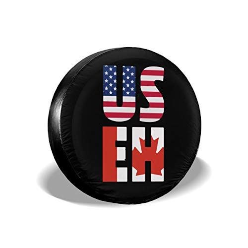 A1LZ-TS3 Sports Fan Tire Covers America Canada Universal Spare Wheel Tire Cover Fit for Trailer,RV,SUV and Many Vehicle 16 Inch
