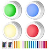 BIGLIGHT Push Lights, RGB Touch Lights, Battery Operated Closet Light, Wireless Tap Light, LED Puck Lights, Remote Controlled Color Changing Lights, Stick on Lights for Classroom Cabinet, 4 Pack