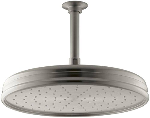 1-Spray Single Function 12 in. Traditional Round Rain Showerhead in Vibrant Brushed Nickel
