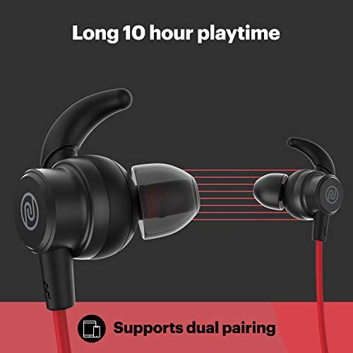 Noise Tune Active Wireless Neckband Headphones with Mic, IPX5 Sweat & Water Proof, 10 Hours Playtime, Dual Pairing, Magnetic Earbuds, Bluetooth v5.0 (Hot Red)