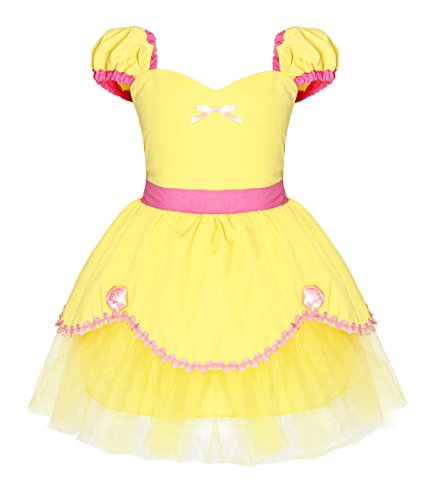 Cotrio Princess Belle Costume Dress Clothes Toddler Girls Birthday Party Fancy Dresses Kids Children Halloween Outfits Size 18M (12-18 Months, Yellow, 90) -