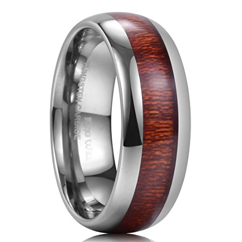 King WiLL NATURE 8mm Domed Koa Wood Tungsten Carbide Ring Wedding Band Polished Finish Comfort Fit(9.5) (Tungsten Band Wedding Inlay)