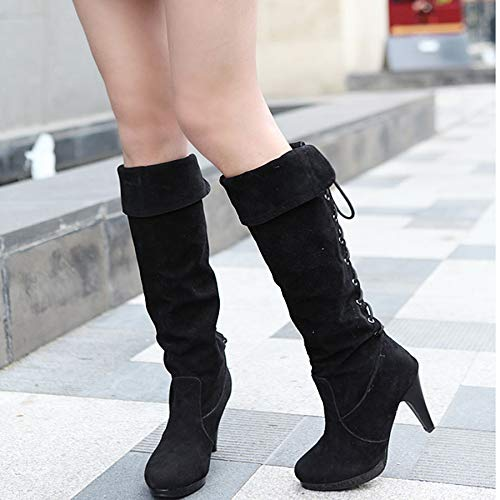Women's Black Faux Suede Knee-High Back Laced Fold Over Cuffs High Heel Boot - DeluxeAdultCostumes.com