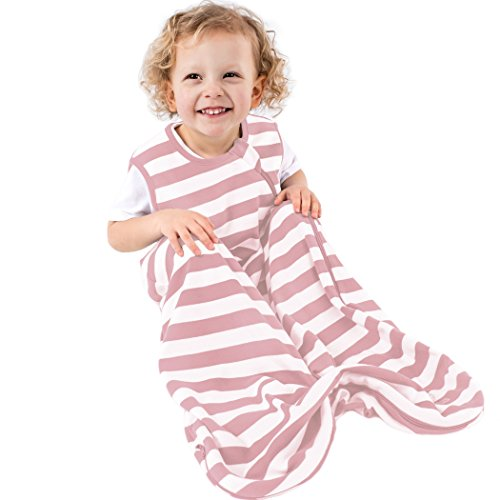 Organic Cotton Baby Sleeping Bag for Toddlers, Summer Sleep Sack 18-36 Mo, Blush