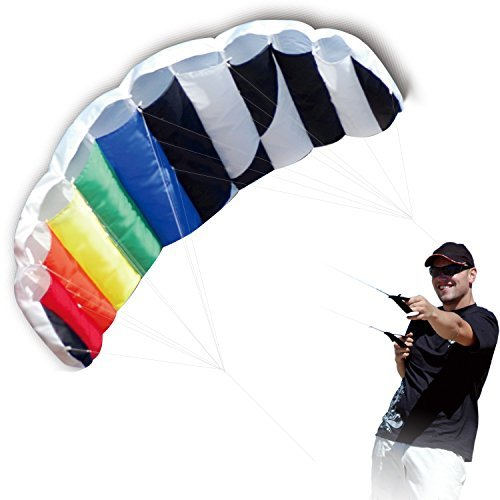 Hengda Kite 1.4 M Intro Foil design Rainbow Kites Soft Stunt Sport Parafoil Kite 55-inch with Flying Tool Set by Hengda kite (Best Beginner Stunt Kite)