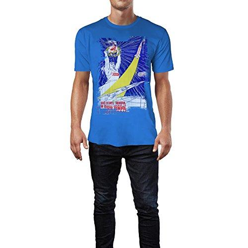 SINUS ART® Space and Sports Herren T-Shirts stilvolles royal blaues Fun Shirt mit tollen Aufdruck