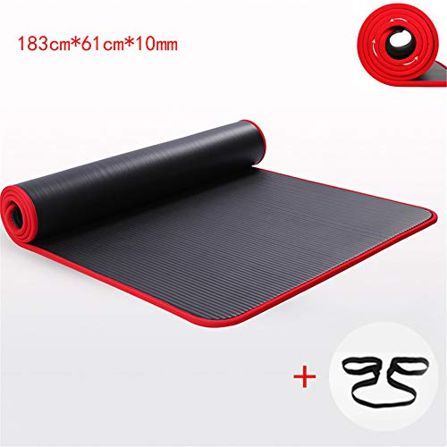 Yoga Mat 10MM Extra Thick NRB Non-Slip for Fitness Environmental Tasteless Pilates Gym Exercise Pads with Bandage