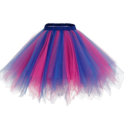 Bridesmay Women 50s Vintage Tulle Tutu Petticoat Ballet Bubble Skirt for Costumes Royal Blue-Fuchsia L