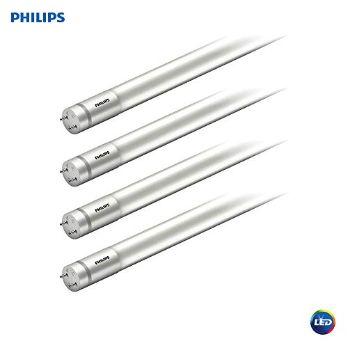 Philips LED MainsFit Ballast Bypass 2-Foot T8 Tube Glass Light Bulb: 1100-Lumen, 5000-Kelvin, 8.5 (17-Watt Equivalent), Medium Bi-Pin G13 Base, Frosted, Daylight, 4 Pack, 544213, 5000 Kelvin, 4 Piece