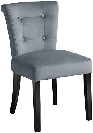 My-Furniture - 1 x Chaise de Salle à Manger Positano, Tapisserie de Haute qualité, capitonnage à Boutons, Anneau métallique au Dos - Gris fumée
