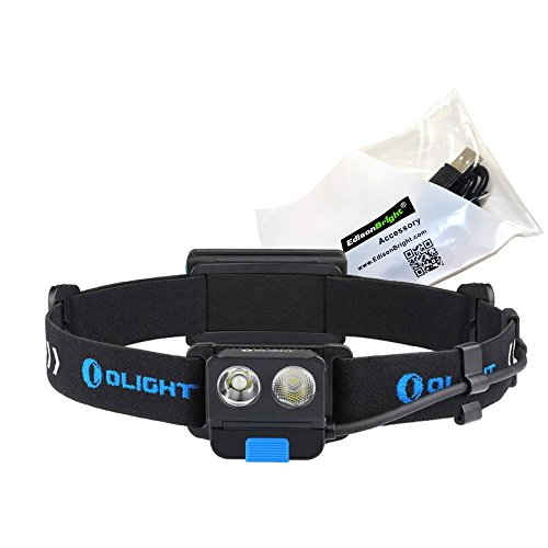Olight H16 Wave 500 Lumen LED Sensor Gesture Control Headlamp Torch Flashlight with 2000mAh Rechargeable Battery Pack and EdisonBright USB Charger cable bundle
