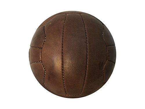 Antique Old Fashioned Soccer Ball Oldie - Real Leather Soccer Ball with Laces - Replica of Balls Used in 1950's - Unique Gift for Soccer Fans (Antique Brown Leather, 5)