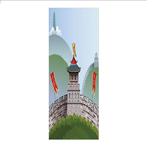 - 3D Decorative Film Privacy Window Film No Glue,Ancient China Decorations,Cartoon Great Wall of China Curvy Design Flag Hills Greenery Decorative,Multicolor,for Home&Office