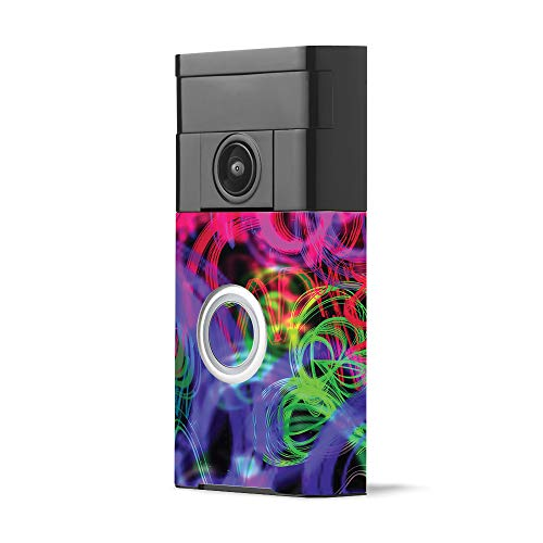 MightySkins Skin for Ring Video Doorbell - Neon Splatter | Protective, Durable, and Unique Vinyl Decal wrap Cover | Easy to Apply, Remove, and Change Styles | Made in The USA