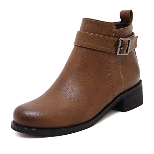 Meeshine Women's Leather Buckle Straps StackedLow Chunky Heel Ankle Booties Boots(8 B(M) (Brown Leather Low Heel)