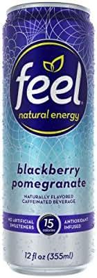 FEEL Natural Energy Sparkling Caffeinated Beverage (Blackberry Pomegranate)