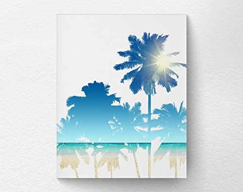Palm Tree Beach Art Print Poster, Beach Bathroom, Coastal Art 8x10 - Palm Trees Coastal Decor