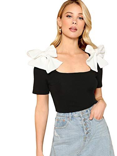 Romwe Women's Short Sleeve Square Neck Flower Bow Slim Blouse Top Black S