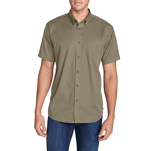 Eddie Bauer Men's Signature Twill Classic Fit Short-Sleeve Shirt - Solid, Lt KHA (Short Sleeve Twill Shirt)