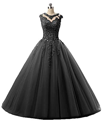 HEIMO Lace Appliques Ball Gown Evening Prom Dress Beading Sequined Quinceanera Dresses Long 2017 H152