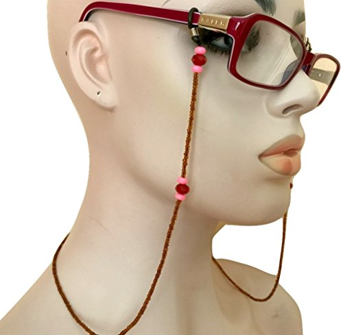 Eyeglass Chain Holder Brown Red Pink Hand Beaded