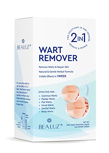 Natural Liquid Wart Remover by BEALUZ: Maximum Strength, Easy & Quick Results for Plantar, Common, Genital Warts (Best Genital Wart Removal Cream)