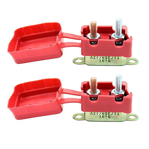 Cacys-Store - 2Pcs 30A AMP 12V Car Circuit Breaker Vehicle Terminal Block Protector Adapter With Cover Auto Reset Dual Battery Fuse ()