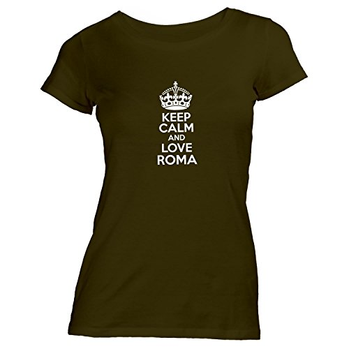 Monkiez Damen T-Shirt - Keep Calm and Love Roma - Heimweh Geschenkidee Italien Khaki XKJCQYZc