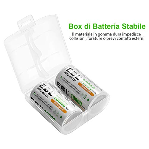 EBL D Batterie Ricaricabili ad Alta Capacità da 10000mAh 1.2V Ni-MH, D Torcia D HR20 Mono con Auto-Scarica Bassa, Confezione da 4 pezzi