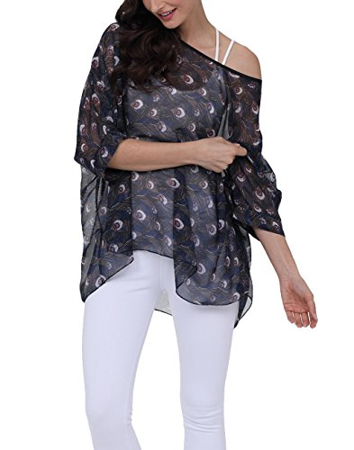iNewbetter Womens Floral Batwing Sleeve Chiffon Beach Loose Blouse Tunic Tops PB286