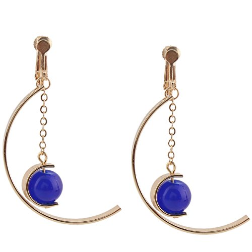 Grace Jun Gold Plated Copper Material Blue Natural stone Moon Style Drop Earrings for Women (Clip on)