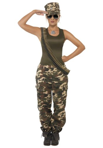 Khaki Camo Lady Adult Costume, Small (Army Ladies Costume)
