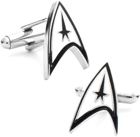 Star Trek Logotipo Oficial Shield Plateado rodio Gemelos en la Caja de presentación: Amazon.es: Joyería