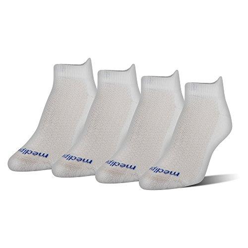 MediPEDS Women's Coolmax Low-Cut Socks, 4-Pack, white, Shoe Size: 6-10 ()