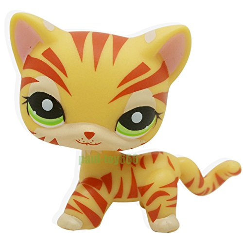 Catzaashop Littlest Pet Shop RARE Yellow Orange Tiger Cat Kitten Kitty Green Eyes LPS #1451 Toy