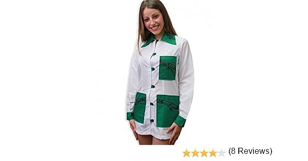 Bata casaca maestra escolar Asilo estética navideño trabajo botones algodón, verde, XS: Amazon.es: Deportes y aire libre